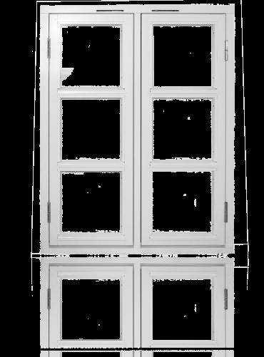 To-rams sidehengslet med gjennomgående sprosser, hvit.