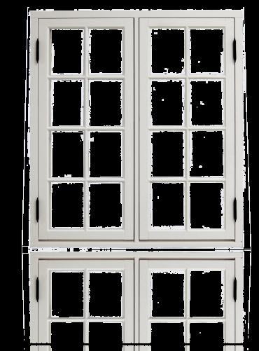 To-rams sidehengslet koblet 2x4x2R, hvit.