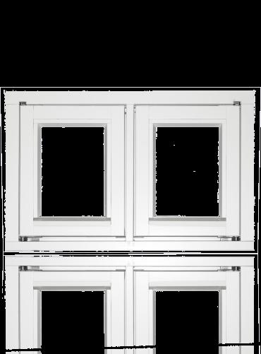 To-rams sidehengslet, hvit.