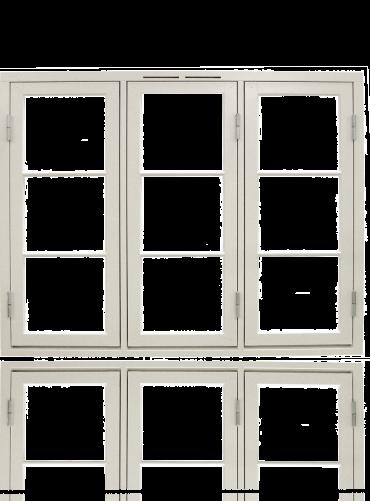 Tre-rams sidehengslet koblet 1x3x3R, hvit.
