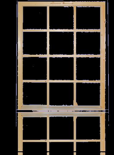Fastkarm med løse sprosser 3x4R, ubehandlet.