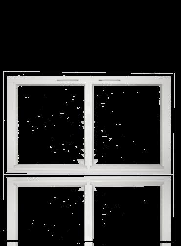 Fastkarm med gjennomgående sprosse 2x1R, hvit.
