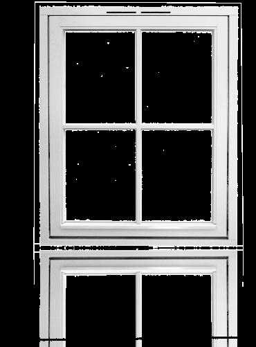 Glidehengslet med løse sprosser 2x2R, hvit.