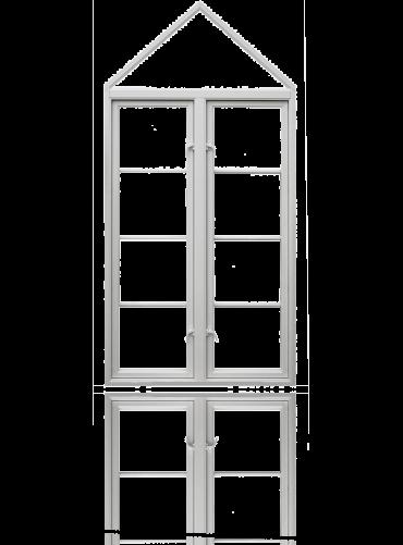 Innside av to-rams sidehengslet koblet 1x4R kombinert med fast skråkarm, hvit.