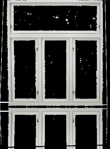 Innside av T-post (4-rams), hvit.