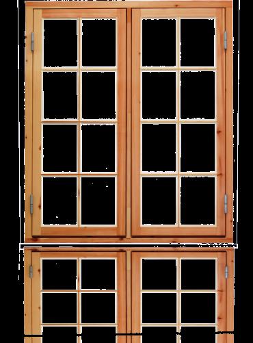 To-rams sidehengslet koblet 2x4x2R, ubehandlet